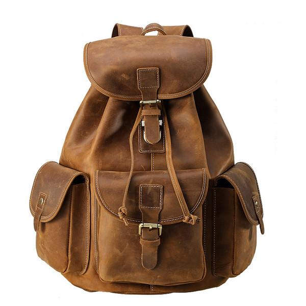 Mens Mini Backpack Women Travel Bag Genuine Leather 15 Inch Laptop School Bag for Teenager Boys Large Capacity Business Bagpack