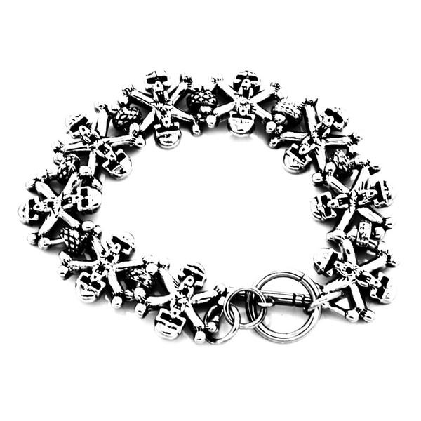 FANSSTEEL chaîne en acier inoxydable punk vintage hommes femmes bijoux croix fantôme crâne lien bracelet de motard gothique FSB00W05