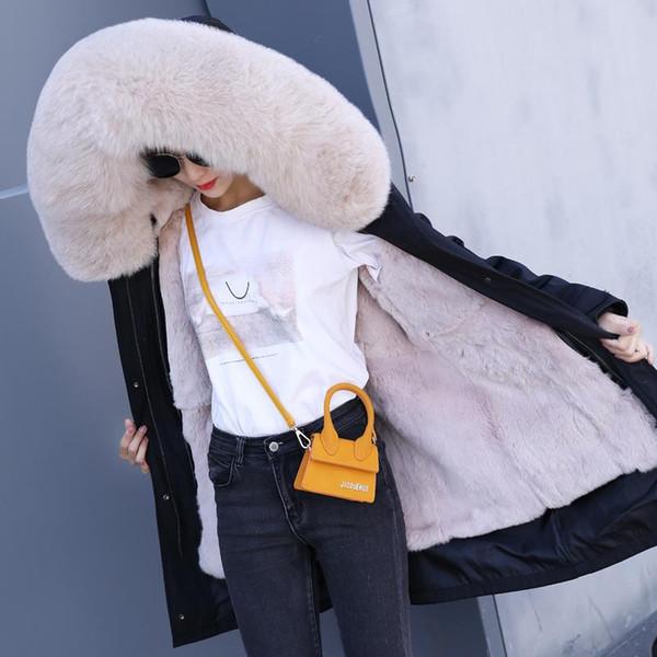 2019 fashion winter jacket women real fur coat natural real fur collar loose long parkas big outerwear Detachable Rex ra