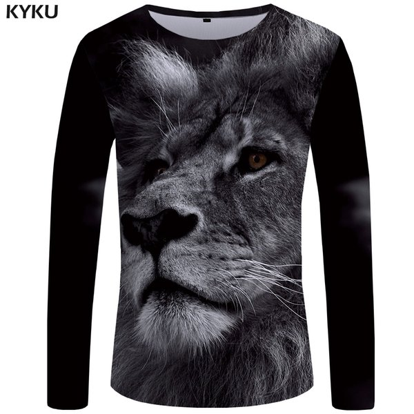 KYKU Lion T shirt Hombres camiseta de manga larga Ropa Negro Hip Hop Tee  Casual camiseta 3348e6bba0c