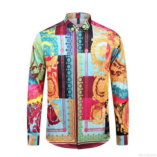 2019 Brand New роскошных дизайнеров Medusa напечатаны рубашки платья тонкой пригонка хлопковых рубашек для мужчин черной печати вскользь бизнеса вершины социальной одежды