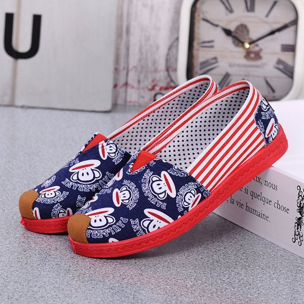 Dress Shoes New Comfortable Shallow Mouth Women's Single Light And Casual Mary Low Sole Canvas Candy Color Animal Pattern
