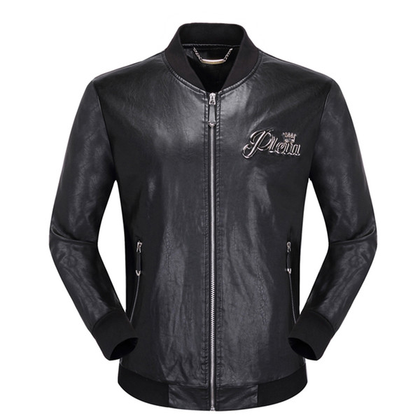 best selling HOT designer brand P men skulls Faux Leather jacket hip hop luxury Fitness clothing Casual coat High Quality mens fashion Asia Size M-3XL