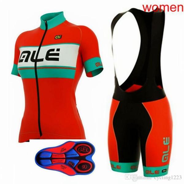 2019 ALE Femme Cyclisme À Manches Courtes Vêtements Vélo Jersey VTT Bavette 9D gel Pad Shorts Set Été À Séchage Rapide Sports De Plein Air Costumes 00275