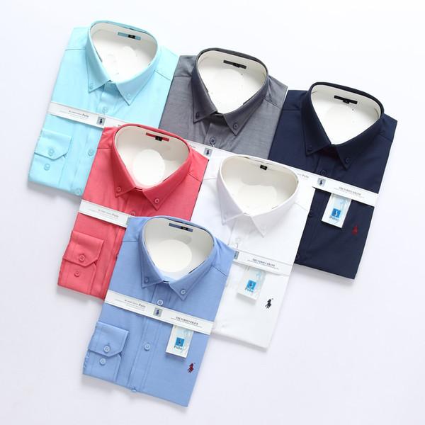 2019 Erkek Gömlek Uzun Kollu polo Erkek Gömlekler Adam Pamuk Gömlek Slim Fit Gömlek polo Yüksek kalite Chemise Homme