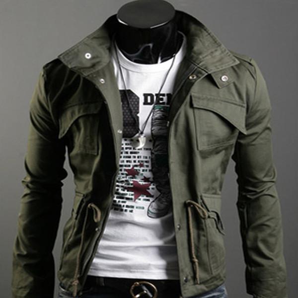Korean mens coats and jacket men's slim windbreaker jacket army jacket