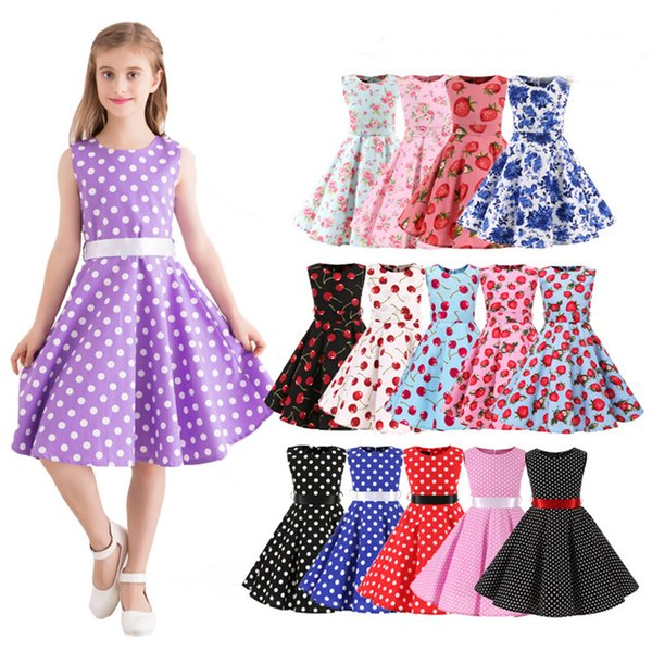 Vestido vintage para niños Vestidos de algodón hasta la rodilla Vestidos sin mangas Vestidos de verano 15 patrones para elegir 19070502