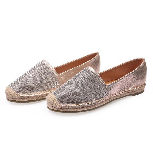 53e62eb5b Moda Strass Sapatos Baixos Mulheres Marca de Luxo Doce Pescador Leve  Respirável Loafers Preguiçosos Sapatos De