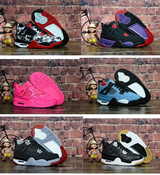 kids shoes 4 4s tattoo singles day bred cactus jack pink black preschool children basketball shoes iv youth sneakers 28-35