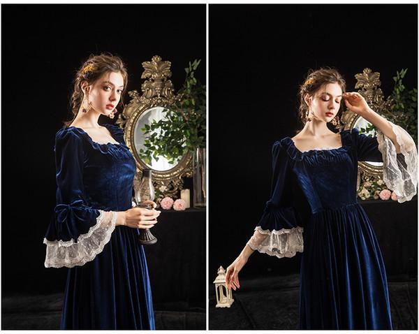 100% réelle robe de robe de cosplay marine velours luxe vintage longue robe princesse royale médiévale Renaissance Victoria balle Belle