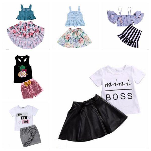 La niña de verano de la ropa Boutique sistemas de la ropa sin tirantes irregular Flores florales juegos de faldas impresa letra Tops Pantalones cortos Trajes B6042