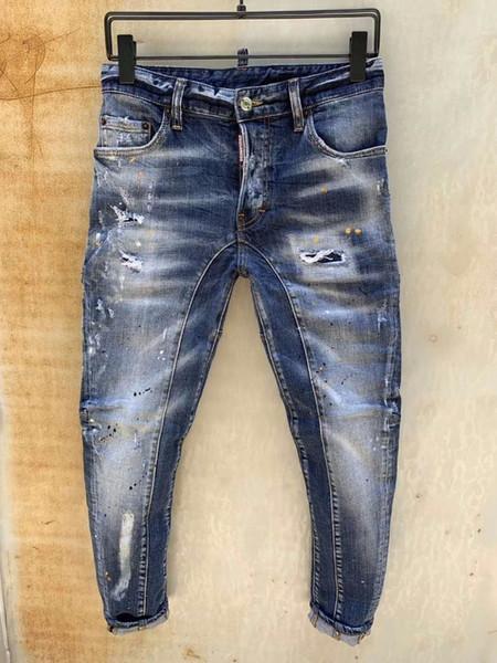 Italia D2019 moda nuevos hombres pantalones de mezclilla de gama alta personalidad caliente pies delgados microelásticos pantalones casuales 616 T80