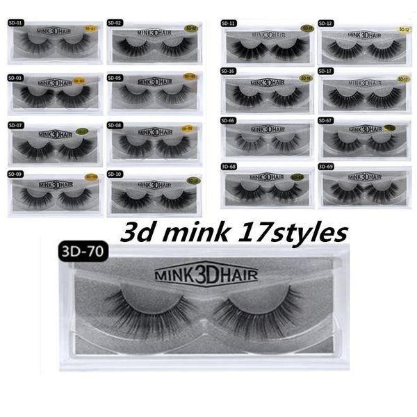 1Pair/lot Mink eyelashes 17 styles Selling 1pair lot Real Siberian 3D Full Strip False Eyelash Long Individual Mink Lashes Extension