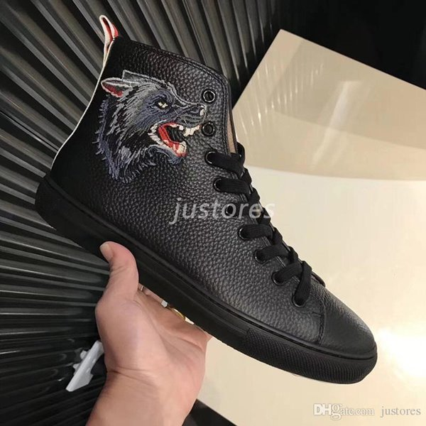 2019 TOP Fashion Man Designer Brand Wolf head Ace High-top Genuine Leather Sneakers Luxury Italian Shoe Woman Casual Shoes
