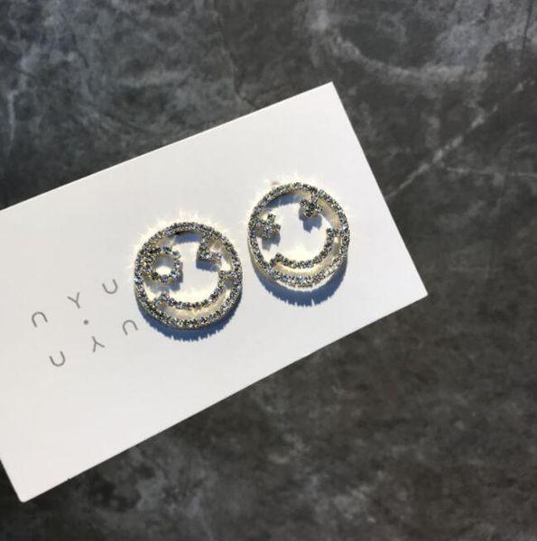 Cute openwork rhinestone smiley face S925 silver needle sweet asymmetrical elegant sweet delicate fresh personality fashion earrings