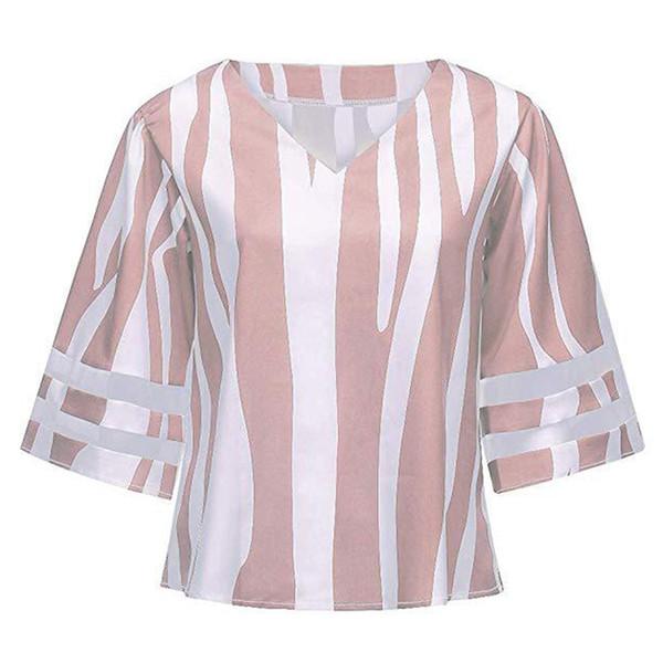7a9aa2c24ca06 Women Loose Bell Sleeves Short Daily Casual Streetwear Chiffon Shirt V Neck  Summer Patchwork Tops Vertical