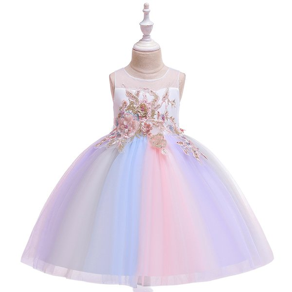 Rainbow Girl Dresses for Kids Clothes Lace Emboridery Children Girl Wedding Gown Party Frocks Vestidos Infantil Clothing