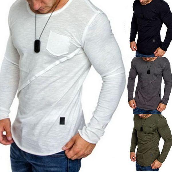 2018 Yeni Siyah Koşu T Shirt Erkek Sonbahar Uzun Kollu Tank Tops Spor Vücut Geliştirme Spor Ince Koşu T-shirt Yoga Spor giysi