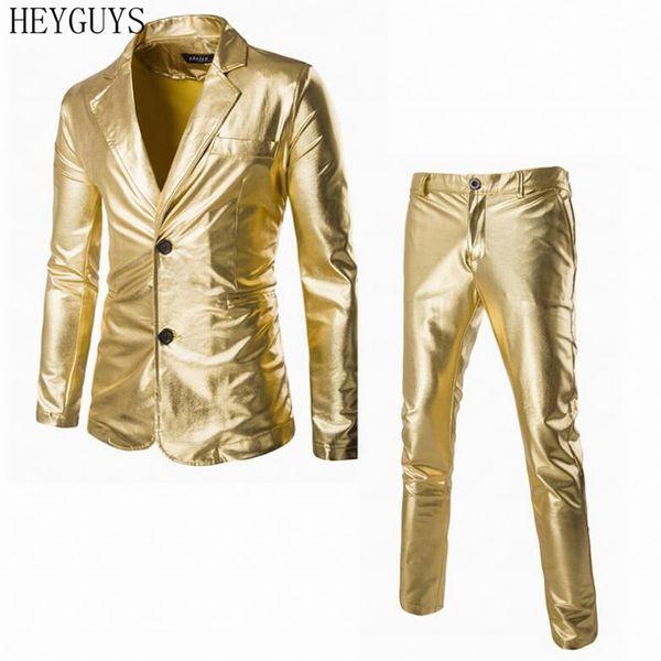 (Jackets + Pants) Men Business Suit Sets Gold Silver Black Slim Tuxedo Formal Fashion Dress Brand Blazer stage performances Suit