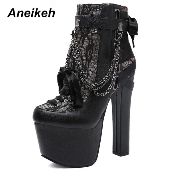 Black steel high heel punk goth shoes for women