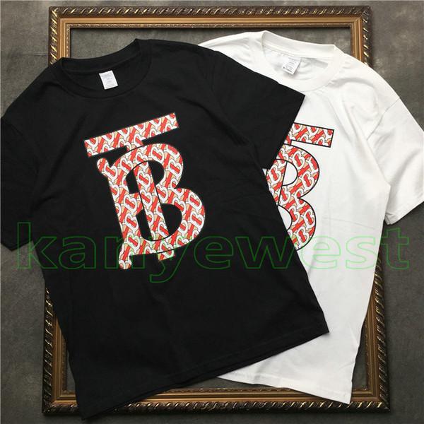2019 Europa de lujo de Londres Hip Hop bordado Big T B Tee patín de alta calidad Cool T-shirt hombres mujeres ropa de algodón Casual camisetas