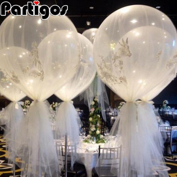 10pcs 36 inç 25g Jumbo Büyük Yuvarlak Lateks Balonlar Şeffaf Şeffaf Dev Düğün Balon Masa Centrepiece Gelin Duş Parti T191101