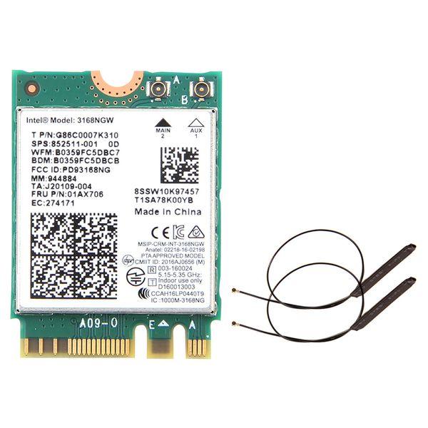 Dual band Wireless 600Mbps Wireless Network Card Wifi Receiver Intel 3168 AC 3168NGW NGFF M.2 802.11ac Wi fi Bluetooth 4.2 Card Dual