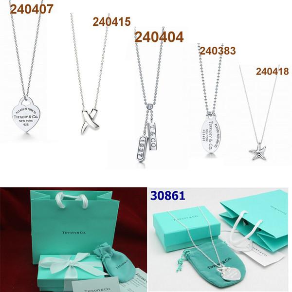 Freies Verschiffen heiße Tiffany 925 Sterling Silber jewely Stil Halskette Armband Tiff Schmuck Der klassische TFN Artspielwaren Pie mit ursprünglichem Kasten