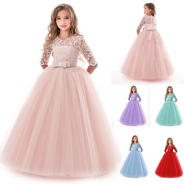 acd9622a6f98 Abito da sposa principessa ragazza di pizzo fiore ragazza abiti per bambini  per ragazze abito per