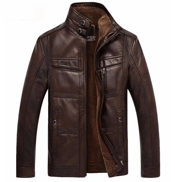 Dropshipping Leather Jacket Men Jaqueta De Couro Masculina Men's Thick Pu Leather Coat Men Casual Winter Faux Fur Fleece Jacket