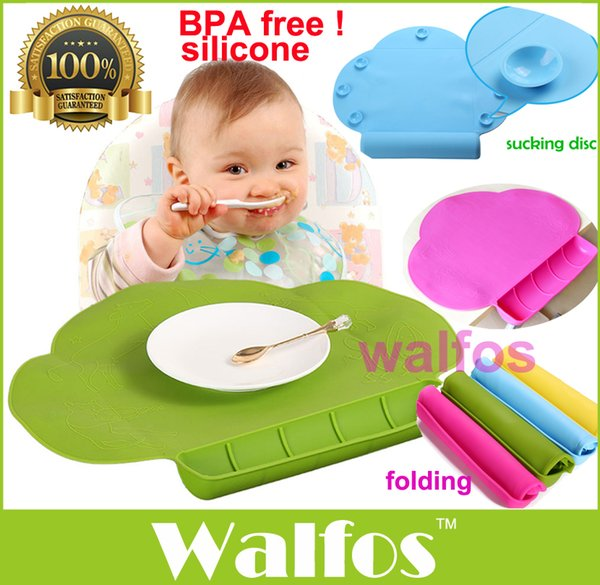 Wholesale WALFOS Waterproof silicone Baby bib Table Mat Infant Tiny Diner Portable Placemat for kids Baby Feeding silicone baby placemat