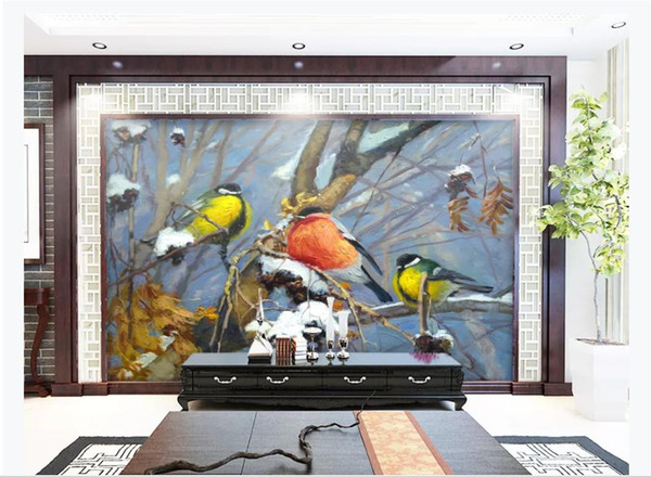 Fashion flowers and birds relief 3D background decorative painting murals Wall Papers For Walls 3D Papel De Parede