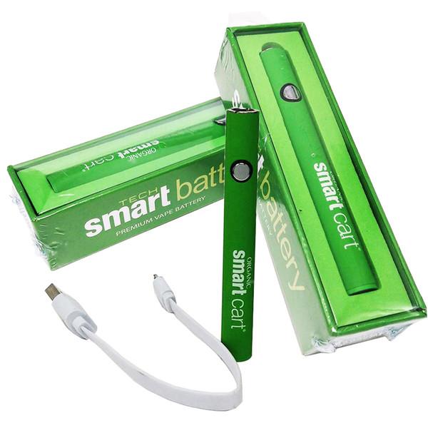 Интеллектуальный предварительный нагрев батареи Vape Pen с зарядным устройством USB Стартовый комплект Переменное напряжение Эго резьба 380 мАч Для всех 510 одноразовых картриджей Смарт-тележки