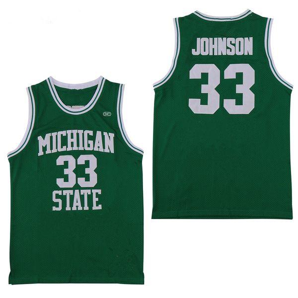 NCAA Michigan State Spartans # 33 Earvin Johnson Magic LA Green White College 33 Larry Bird High School Basketball Jersey camisetas cosidas