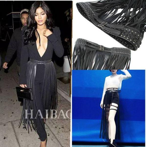 Gros- décoration corde rivets pompon des femmes noires à long ceinture ceinture europe de style punk, ceinture en cuir noir pour feninino