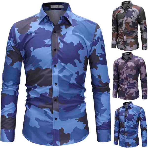 Feitong Camouflage Print Men Shirt Langärmelige Freizeithemden für Männer Slim Fit Army Green Herrenhemden Camisas Masculina
