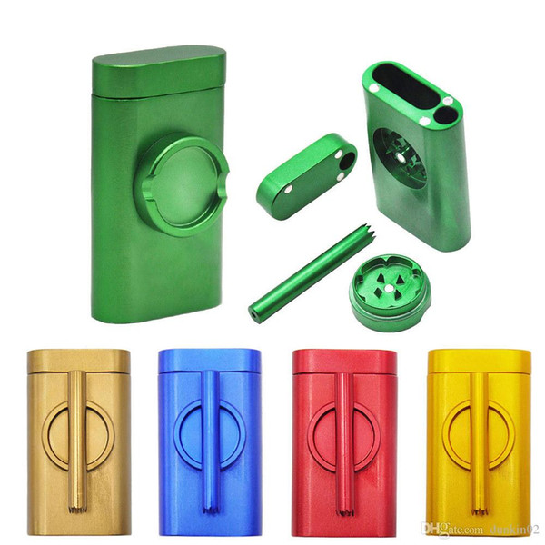 Metal Dugout One Hitter Smoke Machine Set With Smoke Pipe Grindercase Pinch Hitter Grinder Combo Cigarette Holder Filter pipe