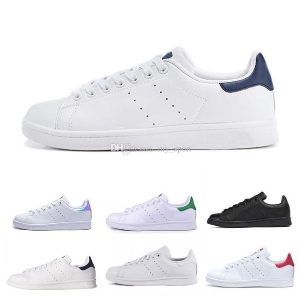 Vende 2019 Nuevos originales Stan Smith Shoes Barato Mujer Hombre Casual Zapatillas de deporte de cuero Superestrellas Skateboard Punzón Blanco Azul Stan Smith Shoes
