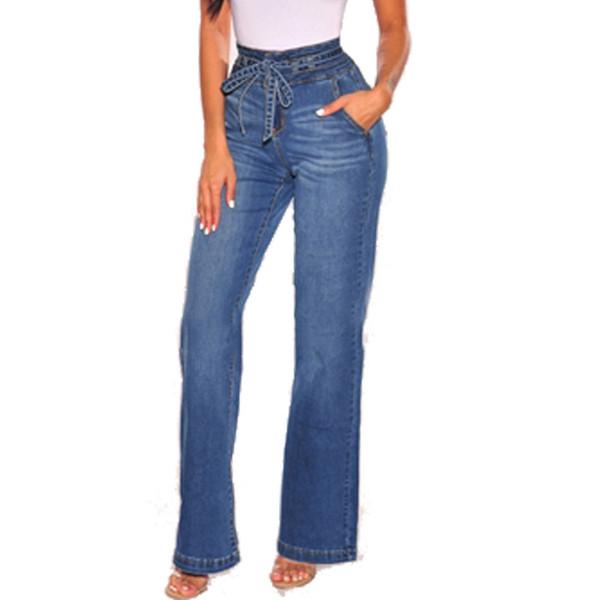 2019 Herbst Neue Frauen Jeans Hohe Taille Kleine Flare Jean Mode Dünne Breite Bein Denim Hosen