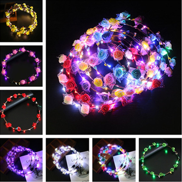 LED Light Up Flower Crown Flashing Garlands Head Band Clasps Floral Head Hoop Fairy Hairband Headwears Wedding Chirstmas Party Decor C102901