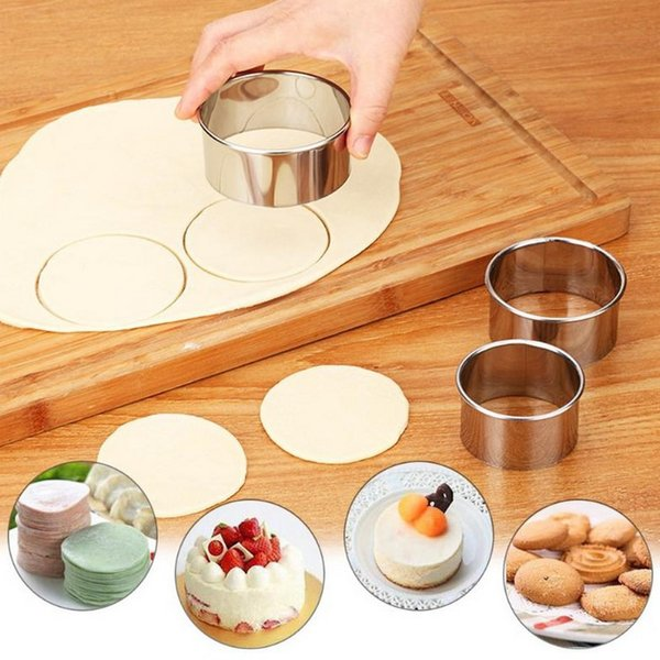 3 unids / set acero inoxidable Dumpling Wrappers Maker Diámetro 8 / 6.5 / 6 CM molde redondo de la torta molde de huevo herramientas de corte de masa 20 Sets DHL