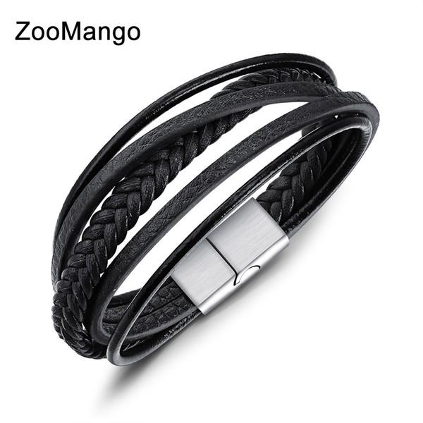 ZooMango Punk tissé à la main en cuir multicouche Hommes lien chaîne Bracelets Creative National Style Wrap Bracelets Bijoux OPH1094
