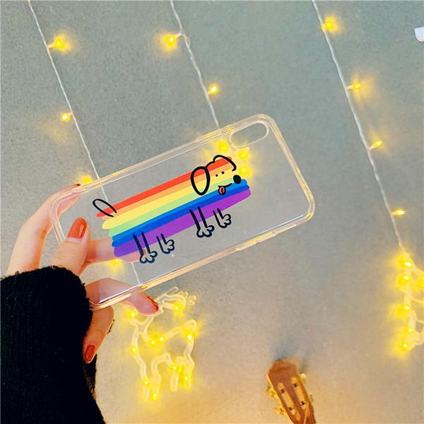 Rainbow dog& cloud TPU the transparent cellular phone protect hull