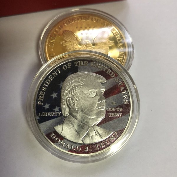 Comemorativo impressão a cores Trump Moeda Comemorativa Craft Coin emblema presidente americano 3D Donald Moeda