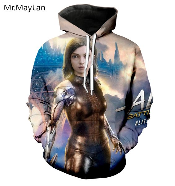 Movie Alita:Battle Angel 3D Print Jackets Women/men Unisex Couples Gothic Pullovers Hood Sweatshirts Girls Cool Tracksuits 5XL