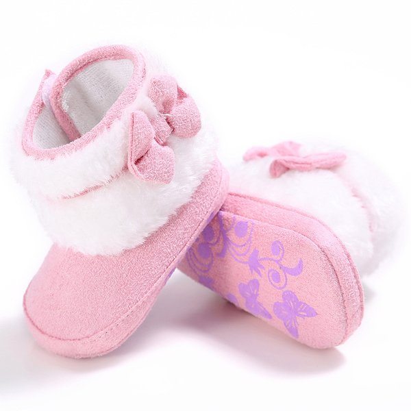 Baby Shoes Newborn Baby Girl Bowknot Fleece Snow Boots Booties White Princess Shoes Pink Purple Red