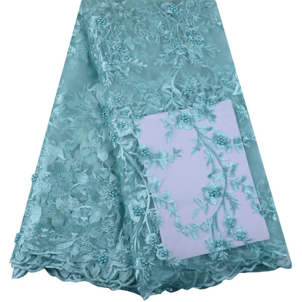 New Style Teal Nigerian Lace Fabrics For Wedding Dress Embroidery African Lace Fabric High Quality Beads Lace 5Yards Y1014