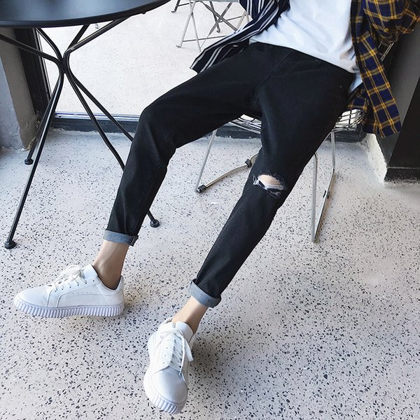 2019 Summer Men's Holes Stretch Slim Fit Casual Pants Skinny Fashion Trend Jeans Light Grey/blue/black Color Trousers Big Size