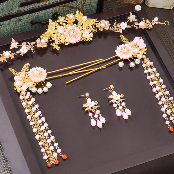 Traditional Chinese Hair Accessories Headdress Jewelry Ancient Hairpin Bridal Wedding Hair Ornaments Tassels Hair China Headband
