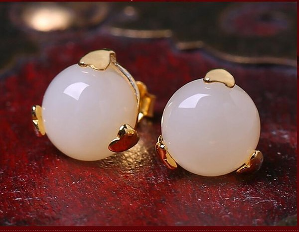Orecchini a lobo dell'orecchio hetian natural naturale genuino Orecchini a lobo per donne crema chiaro bianco Stud 14k Gold Filled Crown Jewelry Set